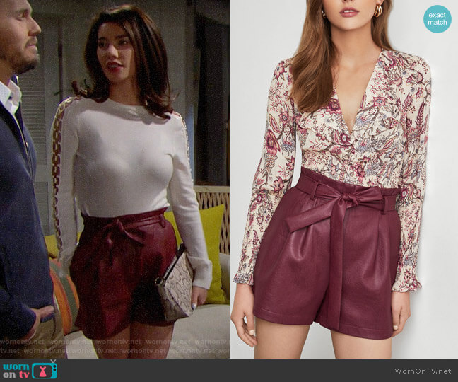 Bcbgmaxazria Paperbag-Waist Faux Leather Shorts worn by Steffy Forrester (Jacqueline MacInnes Wood) on The Bold & the Beautiful