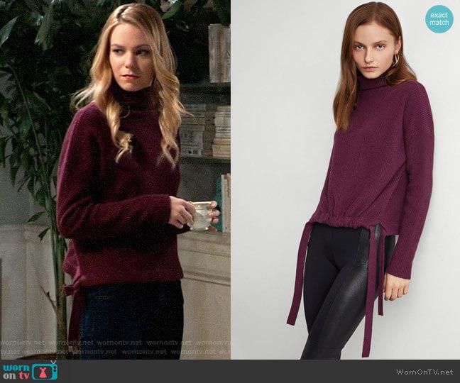 Bcbgmaxazria Ribbed Side-Tie Sweater worn by Nelle Benson (Chloe Lanier) on General Hospital