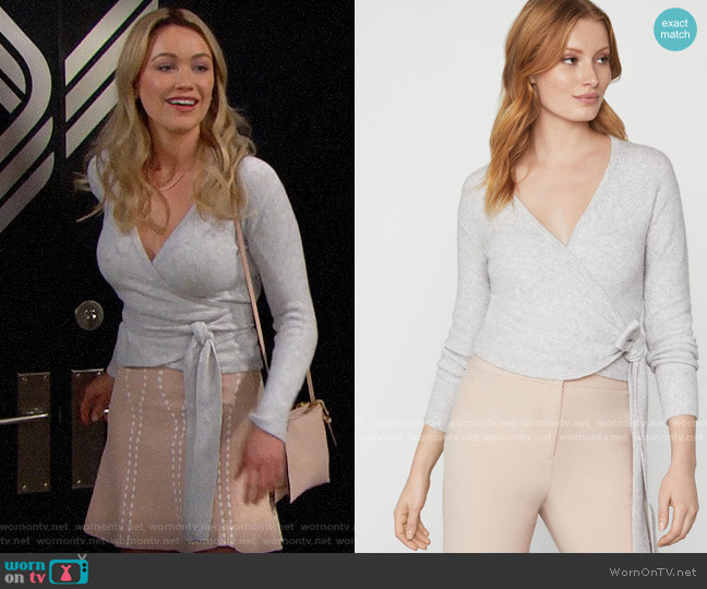Bcbgmaxazria Wrap Sweater in Light Dove worn by Florence (Katrina Bowden) on The Bold & the Beautiful