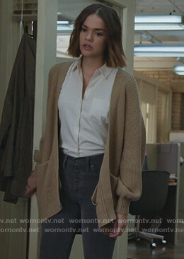 Callie's beige open cardigan on Good Trouble
