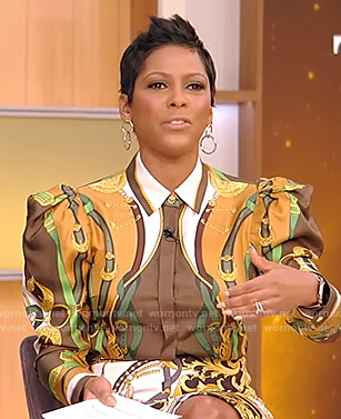 Tamron's printed blouse on Tamron Hall Show
