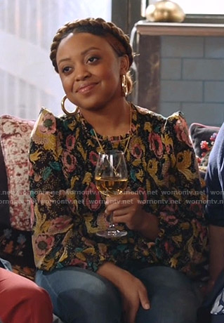 Bess's black floral smocked blouse on Single Parents