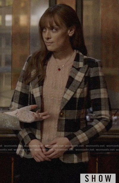 Beth's pink cable knit sweater and plaid blazer on Batwoman