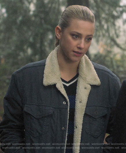 Betty's blue checked v-neck sweater and sherpa trim jacket on Riverdale