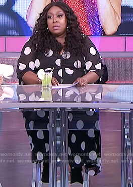Loni's black polka dot jumpsuit on The Real