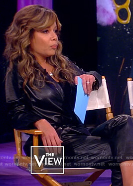 Sunny's black leather belted jumpsuit on The View