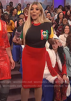Wendy's colorblock tee and red pencil skirt on The Wendy Williams Show