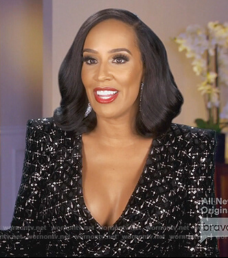 Tanya Sam's black embellished dress on The Real Housewives of Atlanta
