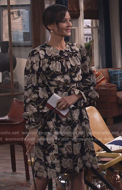 Alison's black floral silk dress on Will and Grace