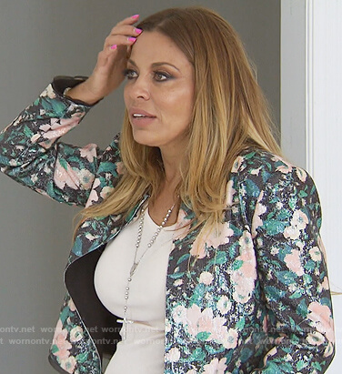 Dolores's black floral jacket on The Real Housewives of New Jersey