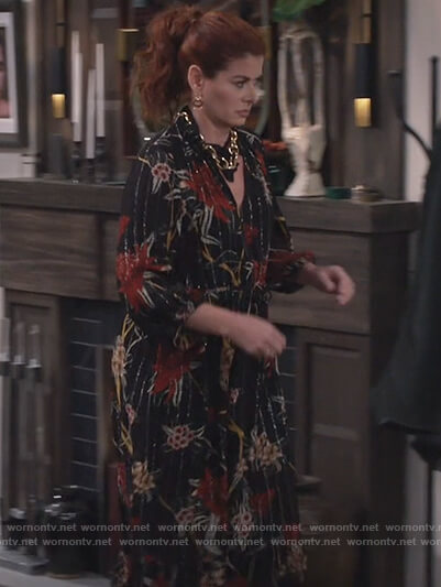 Grace's black metallic floral midi dress on Will and Grace