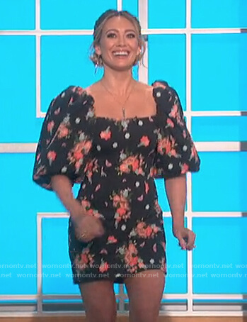 Hillary Duff's black floral puff shoulder dress on The Talk
