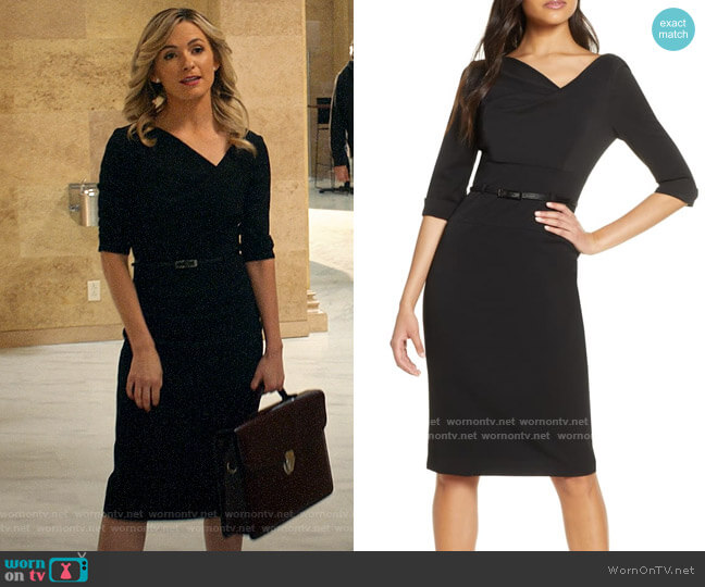 Black Halo 3/4 Sleeve Jackie O Dress worn by Amy Quinn (Lindsey Gort) on All Rise