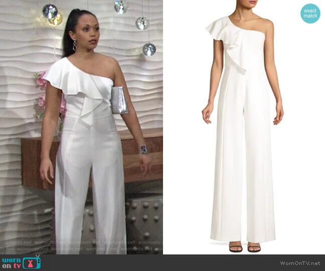 Black Halo Kallan Jumspuit worn by Amanda Sinclair (Mishael Morgan) on The Young & the Restless