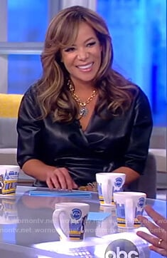 Sunny's black faux leather wrap dress on The View