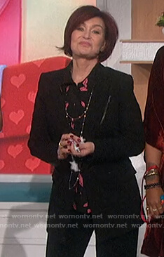 Sharon's black lip print blouse on The Talk