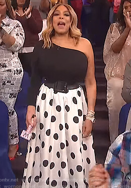 Wendy's black one shoulder top and white polka dot skirt on The Wendy Williams Show