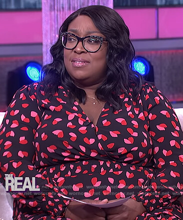 Loni's black floral print smocked dress on The Real