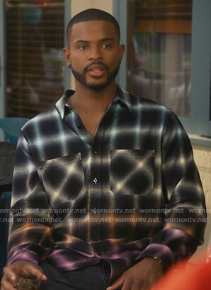 Aaron's black check ombre shirt on Grown-ish