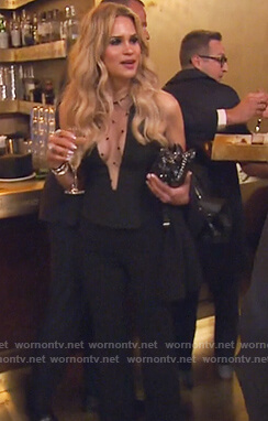 Jackie's mesh dotted top on The Real Housewives of New Jersey