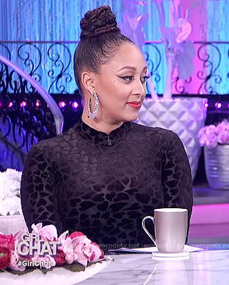 Tamera's black heart mesh bodysuit on The Real