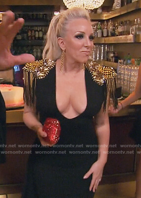 Margaret's black plunging dress with studded shoulders on The Real Housewives of New Jersey