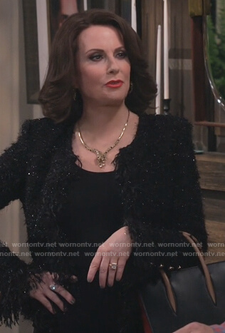 Karen's black tweed jacket on Will and Grace