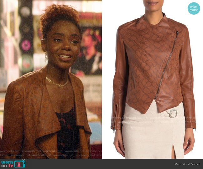 Blank NYC Faux Leather Jacket worn by Josie McCoy (Ashleigh Murray) on Katy Keene