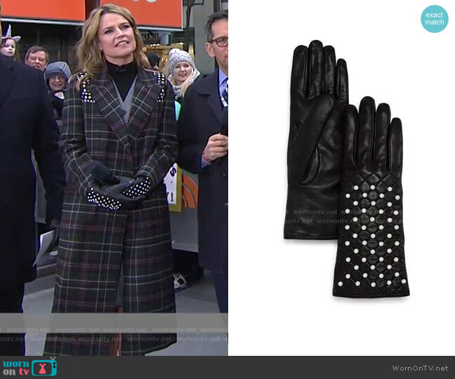 Beaded Leather Gloves by Bloomingdale's worn by Savannah Guthrie  on Today