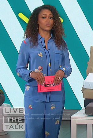 Eve's blue floral pajama style shirt and pants on The Talk