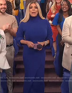 Wendy's blue ribbed sweater and skirt on The Wendy Williams Show