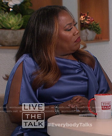 Sheryl's blue satin top on The Talk