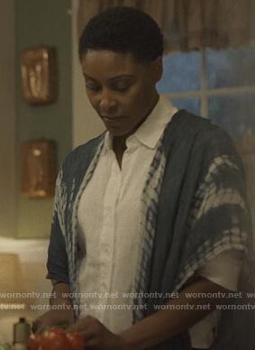 Lynn's blue tie dye kimono on Black Lightning