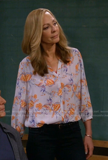 Bonnie's blue and orange floral blouse on Mom