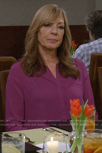 Bonnie's magenta blouse on Mom