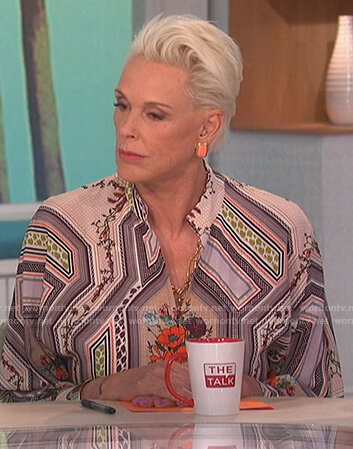 Brigitte Nielsen's floral panel print dress on The Talk