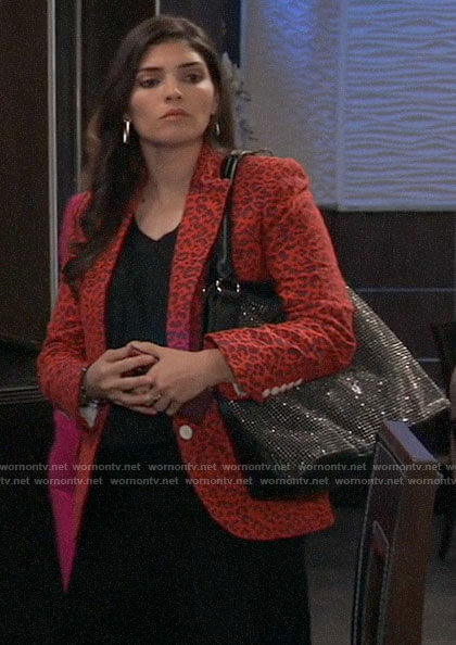 Brook Lynn's red leopard blazer on General Hospital