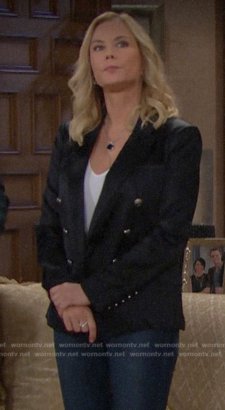 Brooke's black satin blazer on The Bold and the Beautiful