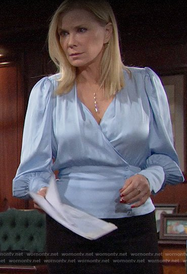 Brooke's blue buttoned wrap blouse on The Bold and the Beautiful