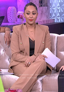 Tamera's brown double breasted blazer on The Real