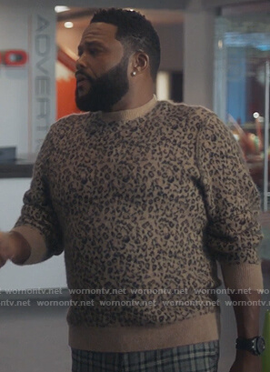 Andre's beige leopard print sweater on Grown-ish