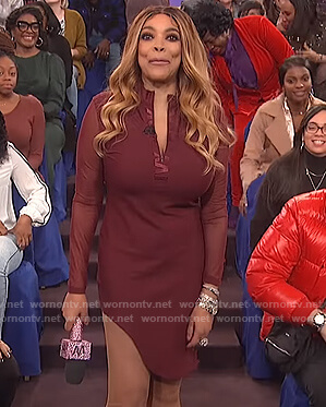 Wendy's burgundy asymmetric dress on The Wendy Williams Show