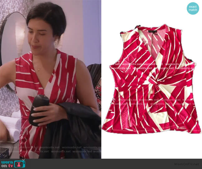 Twist front top by Calvin Klein worn by Shannon Ross (Nicole Power) on Kims Convenience