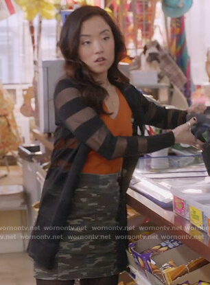 Janet's camo denim skirt on Kims Convenience