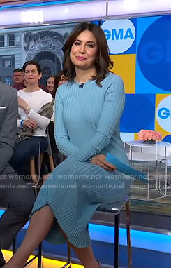Cecilia's blue ribbed midi dress on Good Morning America
