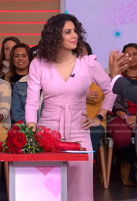 Cecilia's pink v-neck tie waist dress on Good Morning America