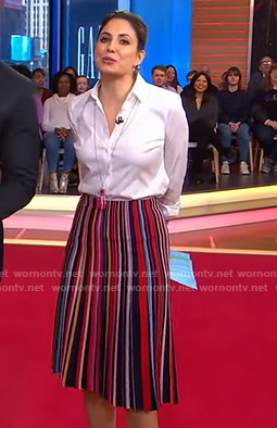 Cecilia's multicolor striped skirt on Good Morning America