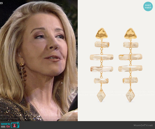 Chan Luu Gold-plated Swarovski crystal earrings worn by Nikki Reed Newman (Melody Thomas-Scott) on The Young & the Restless