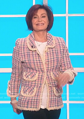 Sharon's tweed check blazer on The Talk