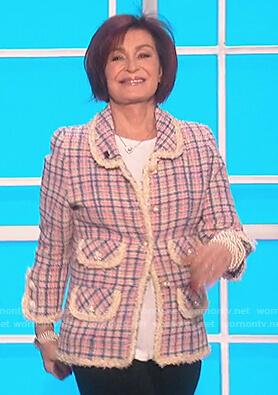 Sharon's tweed check blazer on The Talk